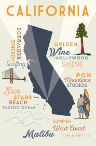 Malibu, California - Typography and Icons by Lantern Press