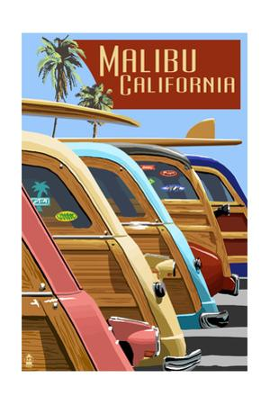 Malibu, California - Woodies Lined Up