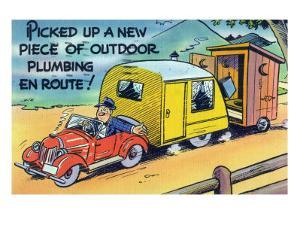 Man Towing a Trailer and an Outhouse, Outdoor Plumbing by Lantern Press