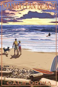 Manhattan Beach, California - Sunset Beach Scene by Lantern Press