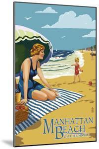 Manhattan Beach, California - Woman on the Beach by Lantern Press