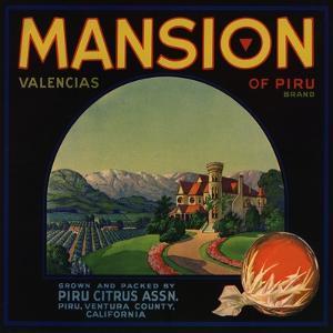 Mansion Brand - Piru, California - Citrus Crate Label by Lantern Press