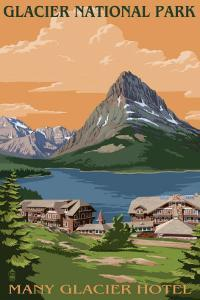 Many Glacier Hotel - Glacier National Park, Montana by Lantern Press