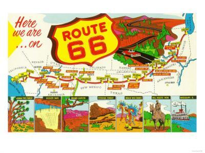 Map of Route 66 from Los Angeles to Chicago