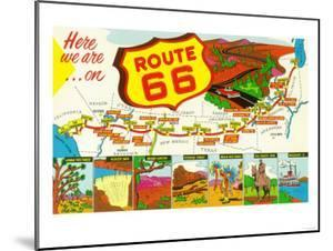 Map of Route 66 from Los Angeles to Chicago by Lantern Press