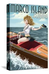 Marco Island, Florida - Pinup Girl Boating by Lantern Press