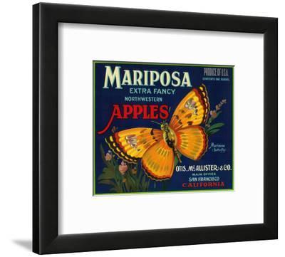 Mariposa Apple Label - San Francisco, CA by Lantern Press