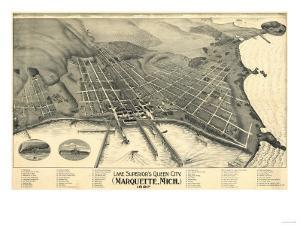 Marquette, Michigan - Panoramic Map by Lantern Press