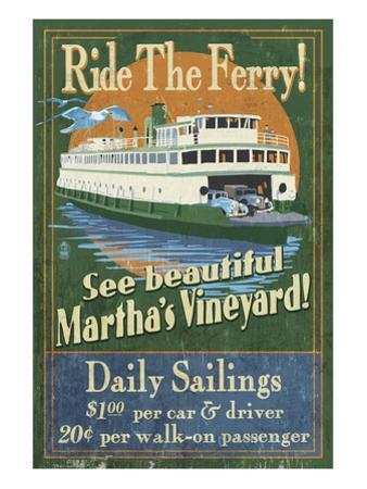 Martha's Vineyard, Massachusetts - Ferry Ride by Lantern Press