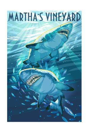 Martha's Vineyard - Stylized Tiger Sharks by Lantern Press