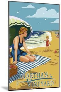 Martha's Vineyard - Woman on Beach by Lantern Press