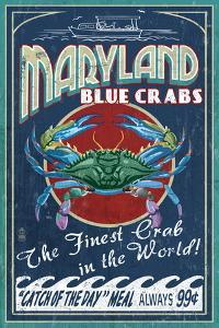 Maryland - Blue Crabs Vintage Sign by Lantern Press