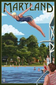 Maryland - Woman Diving and Lake by Lantern Press