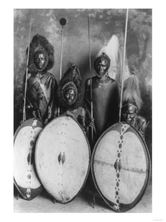 Masai Warriors in War Dress in Kenya Photograph - Kenya