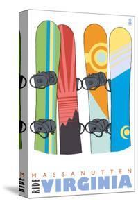 Massanutten, Virginia, Snowboards in the Snow by Lantern Press