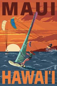 Maui, Hawaii - Windsurfers Scene at Sunset by Lantern Press