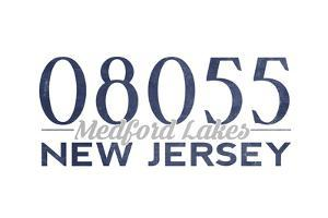 Medford Lakes, New Jersey - 08055 Zip Code (Blue) by Lantern Press
