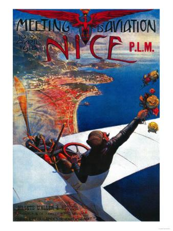 Meeting D' Aviation in Nice, France Poster - Europe by Lantern Press
