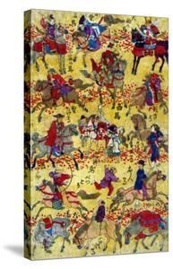 Melange of Horse-riders, Japanese Wood-Cut Print by Lantern Press