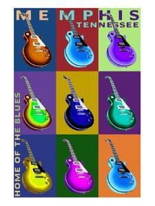 Memphis, Tennessee - Guitar Pop Art by Lantern Press