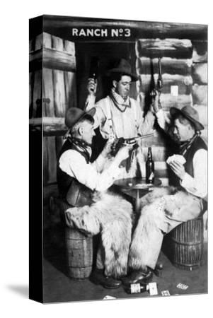 Men Dressed as Cowboys with Bottles of Whiskey, Pistols