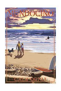 Mendocino, California - Beach Scene and Surfers by Lantern Press