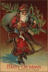 Merry Christmas from Forest Grove, Oregon - Santa with Gifts by Lantern Press