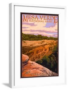 Mesa Verde National Park, Colorado - Cliff Palace at Sunset by Lantern Press