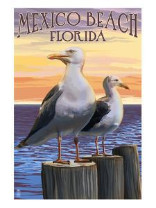 Mexico Beach, Florida - Sea Gulls by Lantern Press