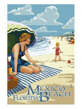 Mexico Beach, Florida - Woman and Beach Scene by Lantern Press