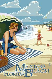Mexico Beach, Florida - Woman and Beach Scene by Lantern Press