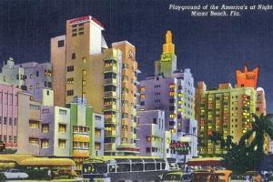 Miami Beach, Florida - City Scene at Night by Lantern Press