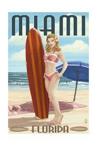 Miami, Florida - Pinup Girl Surfer by Lantern Press