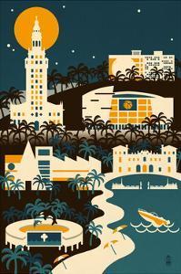 Miami, Florida - Retro Skyline (no text) by Lantern Press