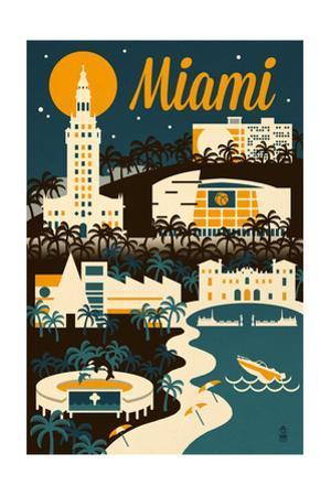 Miami, Florida - Retro Skyline by Lantern Press