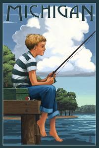 Michigan - Boy Fishing by Lantern Press