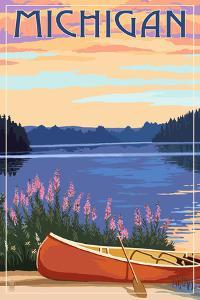 Michigan - Canoe and Lake by Lantern Press