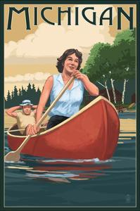 Michigan - Canoers on Lake by Lantern Press