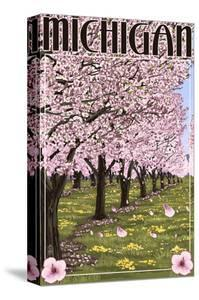 Michigan - Cherry Orchard in Blossom by Lantern Press