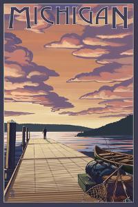 Michigan - Dock Scene and Lake by Lantern Press