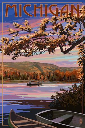 Michigan - Lake Sunset Scene by Lantern Press