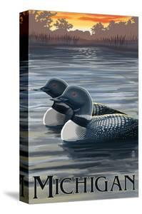 Michigan - Loons Scene by Lantern Press