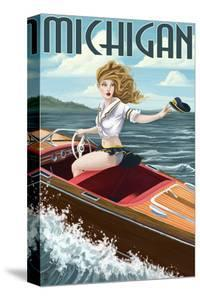Michigan - Pinup Girl Boating by Lantern Press