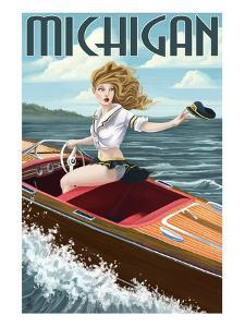 Michigan - Pinup Girl Boating by Lantern Press