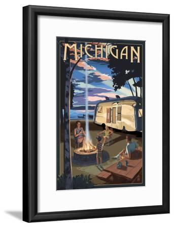 Michigan - Retro Camper and Lake