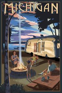 Michigan - Retro Camper and Lake by Lantern Press