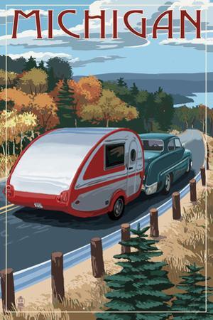 Michigan - Retro Camper on Road by Lantern Press