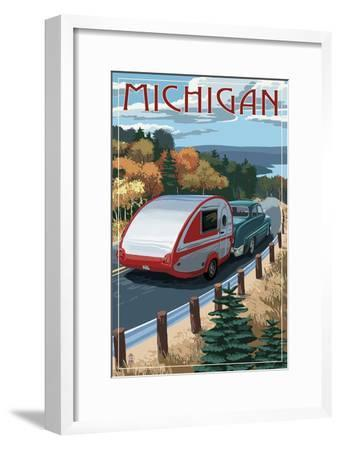 Michigan - Retro Camper on Road