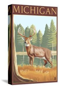 Michigan - White Tailed Deer by Lantern Press