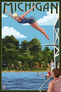 Michigan - Woman Diving and Lake by Lantern Press